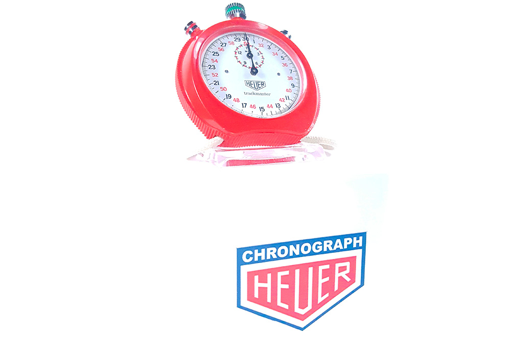 Stopwatch HEUER ref. 8042 - trackmaster --- 3/4 wide shot--- ikonicstopwatch.com --- web version