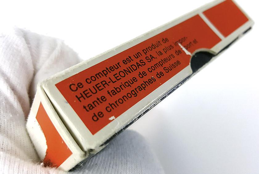 Chronomètre HEUER-LEONIDAS ref. 403.914 - rowing --- détail de la boite (description) --- ikonicstopwatch.com --- web version