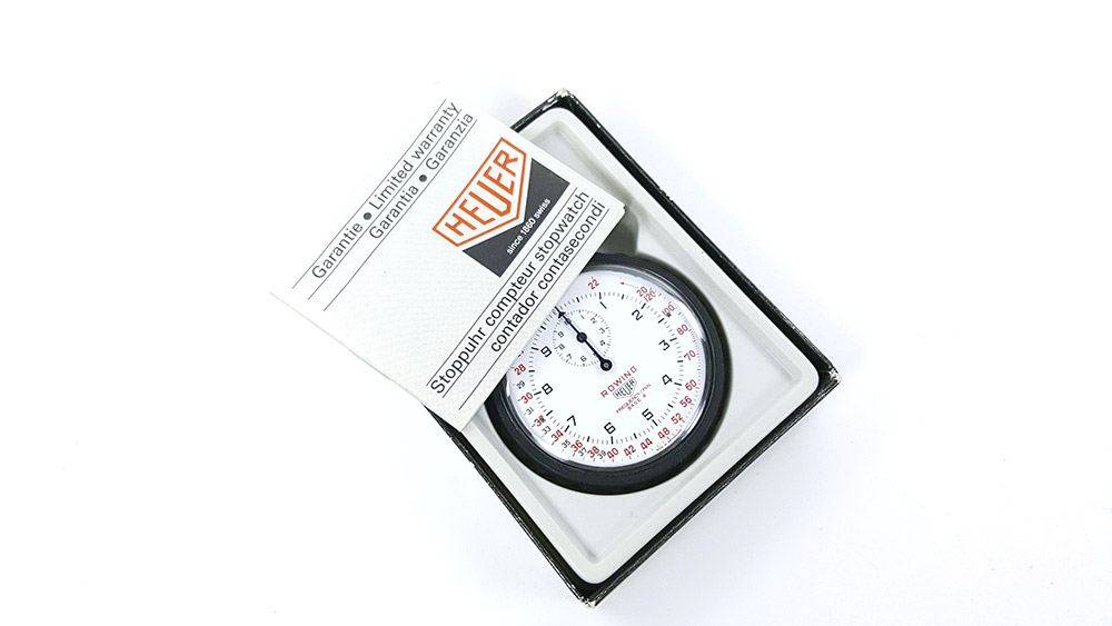 Stopwatch HEUER-LEONIDAS ref. 403.914 - rowing --- box opened with booklet --- ikonicstopwatch.com --- web version