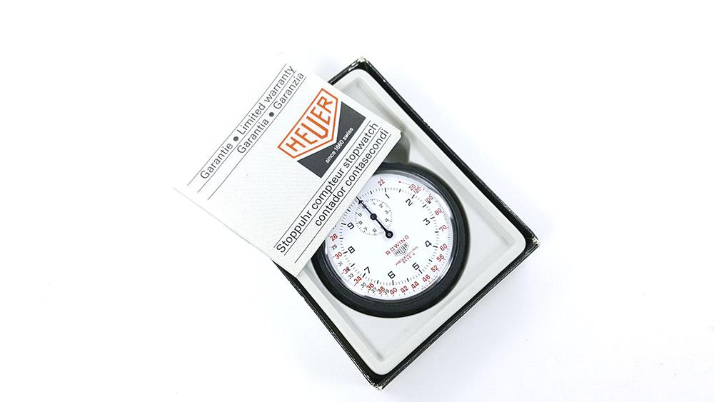 Chronomètre HEUER-LEONIDAS ref. 403.914 - rowing --- boite ouverte avec licence --- ikonicstopwatch.com --- web version