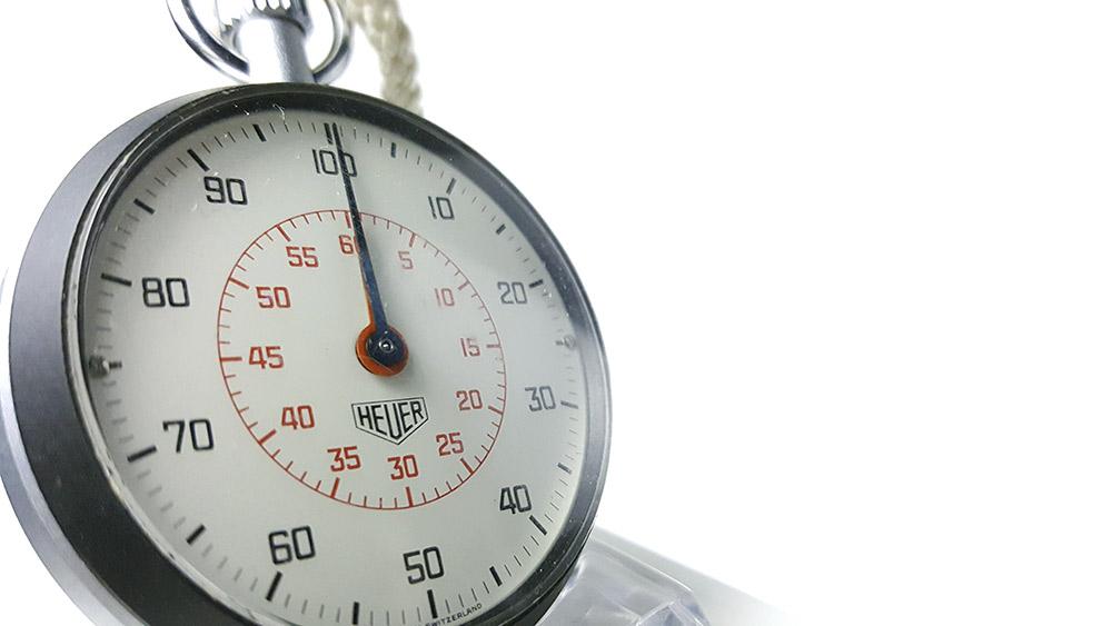 Stopwatch HEUER-LEONIDAS ref. 503.213 --- three quarter close-up shot --- ikonicstopwatch.com