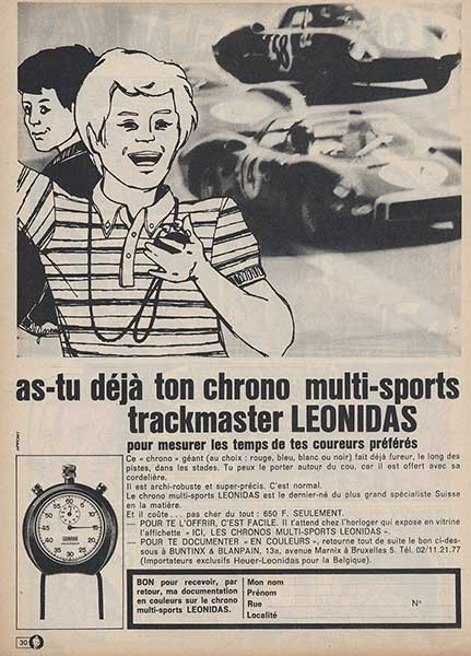 """ad for heuer-leonidas trackmaster stopwatch in the """"journal de tintin"""""""