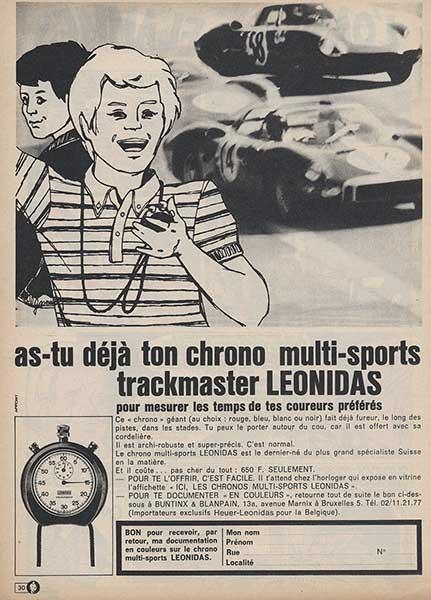"""publicité pour le chronomètre """"HEUER-LEONIDAS"""" dans le journal de Tintin (web)"""