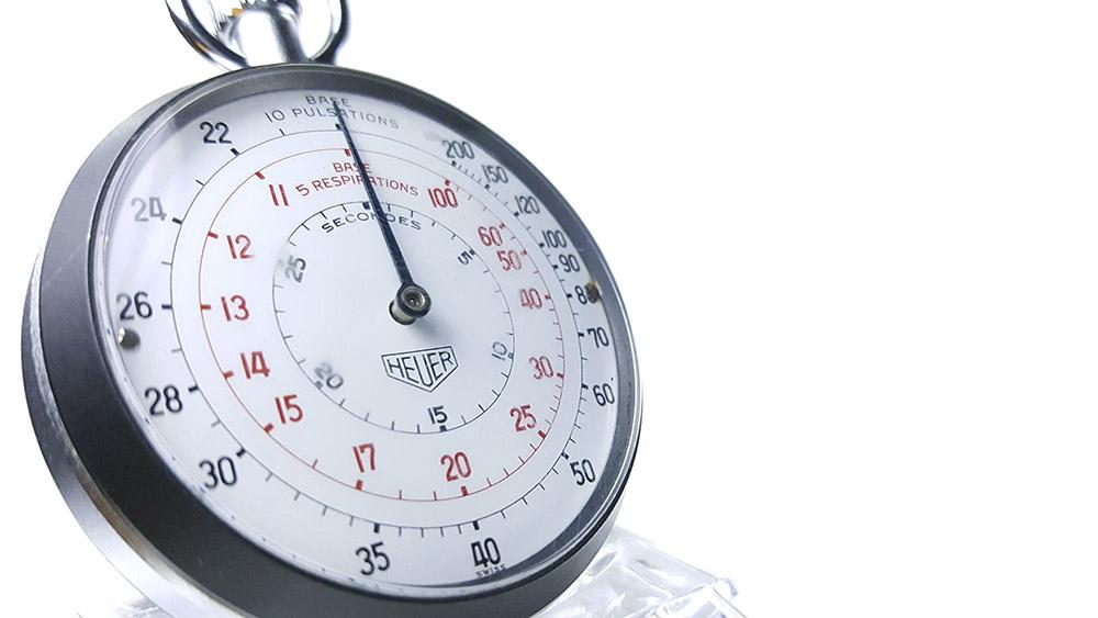Stopwatch HEUER-LEONIDAS ref. 403.229 --- three quarter close-up shot --- ikonicstopwatch.com