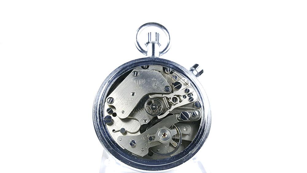 Stopwatch HEUER-LEONIDAS ref. 513.202 (damier dial) --- caliber 7711 --- ikonicstopwatch.com