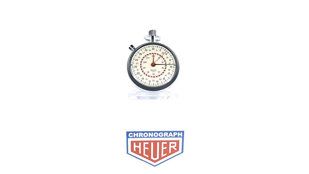 Stopwatch HEUER-LEONIDAS ref. 513.202 (damier dial) --- wide shot --- ikonicstopwatch.com