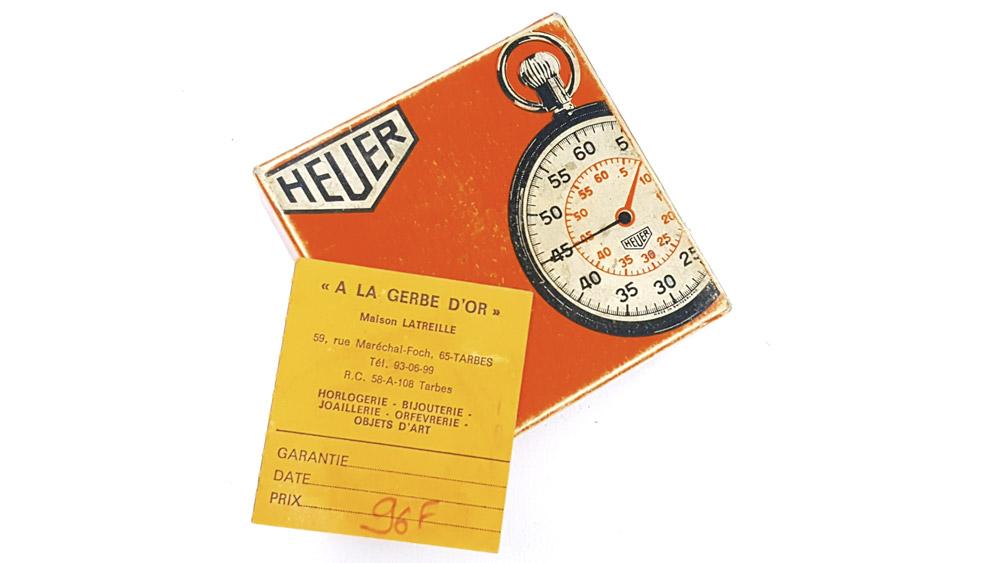 Stopwatch HEUER-LEONIDAS ref. 572 --- box from top --- ikonicstopwatch.com