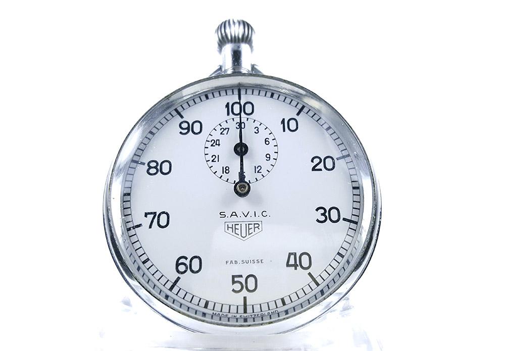 Stopwatch HEUER ref. 913 (S.A.V.I.C version) --- close-up shot (cover) --- ikonicstopwatch.com