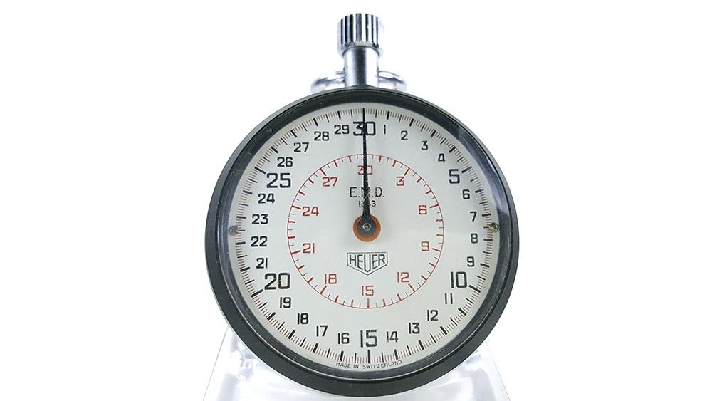 Stopwatch HEUER ref. 503.202 (EMD version) --- close-up shot --- ikonicstopwatch.com