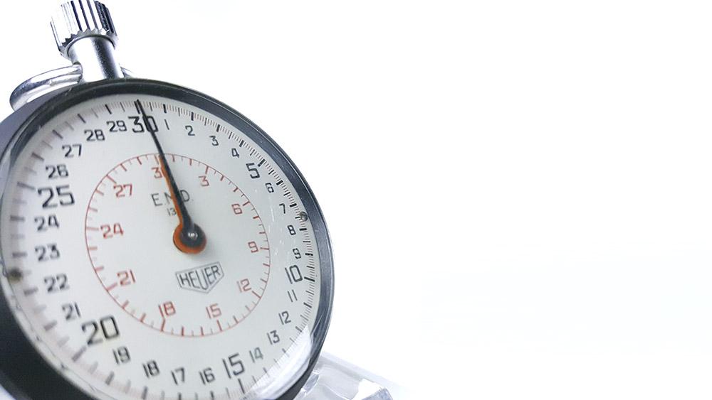Stopwatch HEUER ref. 503.202 (EMD version) --- three quarter close-up shot --- ikonicstopwatch.com