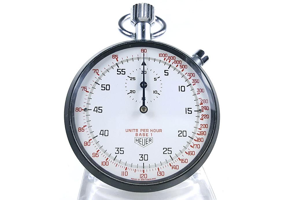 Stopwatch HEUER tachymeter ref. 408.417 --- close-up shot (cover) --- ikonicstopwatch.com