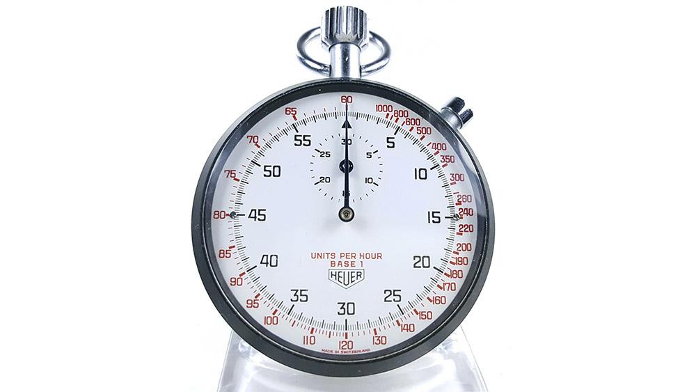 Stopwatch HEUER tachymeter ref. 408.417 --- close-up shot --- ikonicstopwatch.com