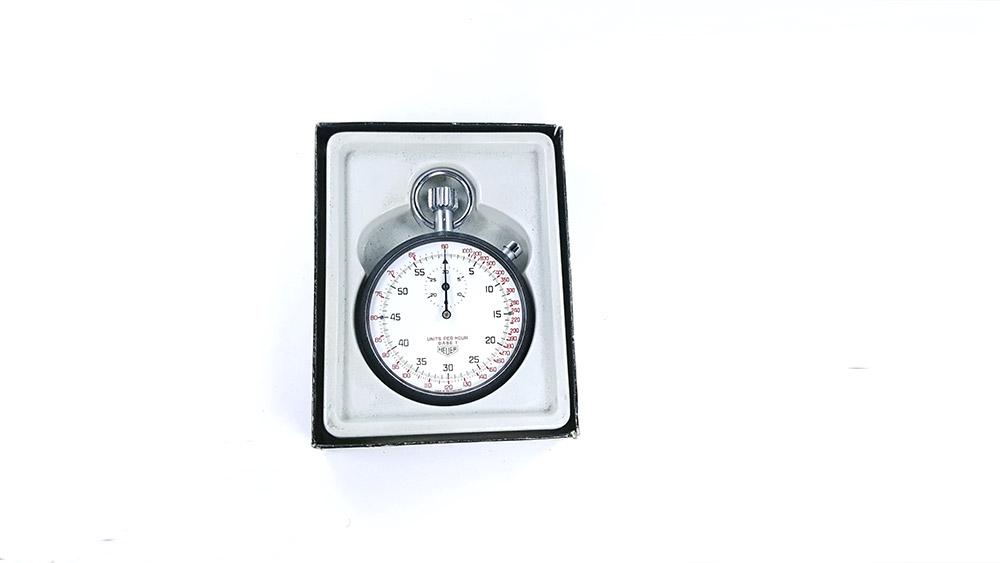 Stopwatch HEUER tachymeter ref. 408.417 --- open box --- ikonicstopwatch.com