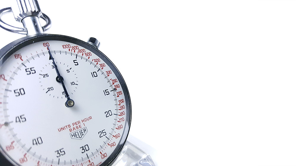 Stopwatch HEUER tachymeter ref. 408.417 --- three quarter wide shot --- ikonicstopwatch.com