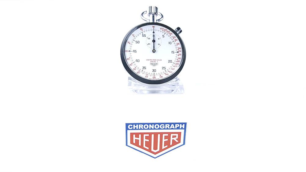 Stopwatch HEUER tachymeter ref. 408.417 --- wide shot --- ikonicstopwatch.com