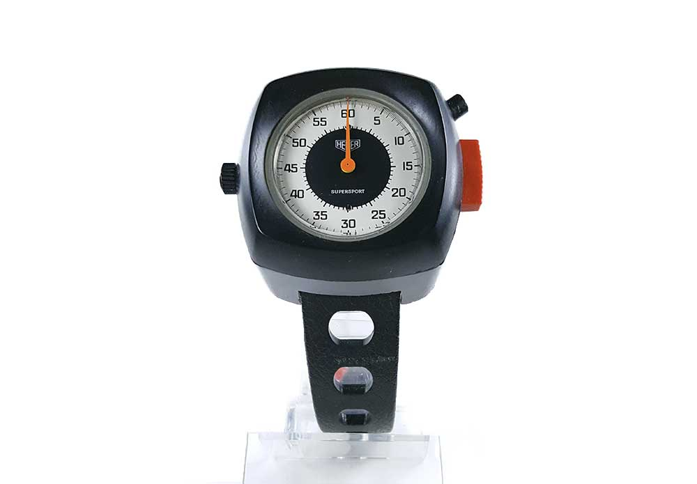 Stopwatch HEUER supersport ref. 775.901 --- close-up shot (cover) --- ikonicstopwatch.com