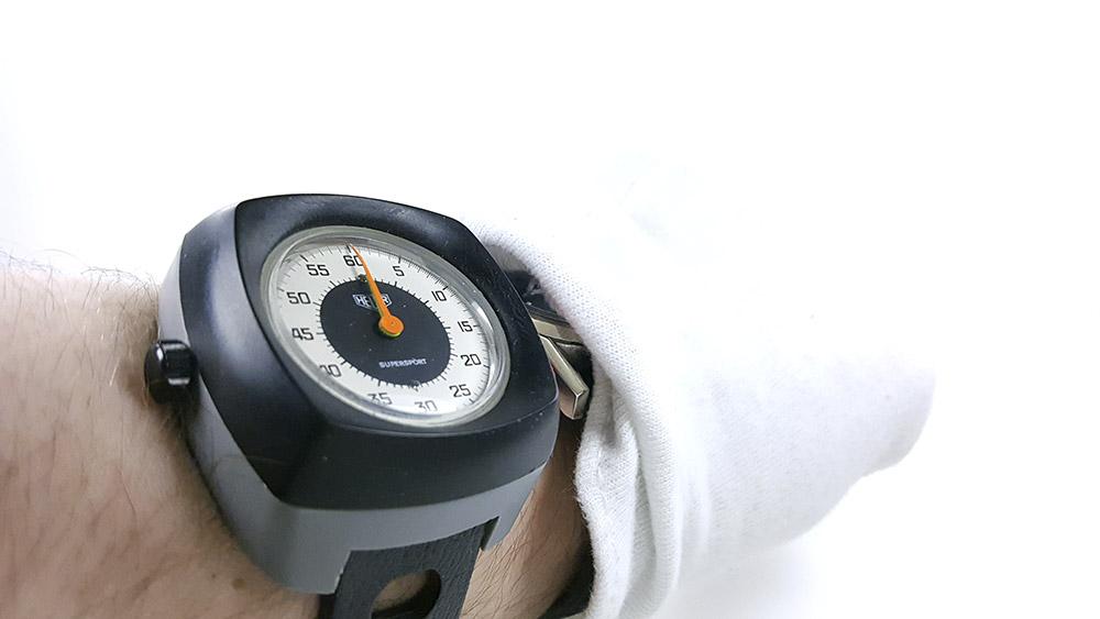 Stopwatch HEUER supersport ref. 775.901 --- wrist close-up shot --- ikonicstopwatch.com