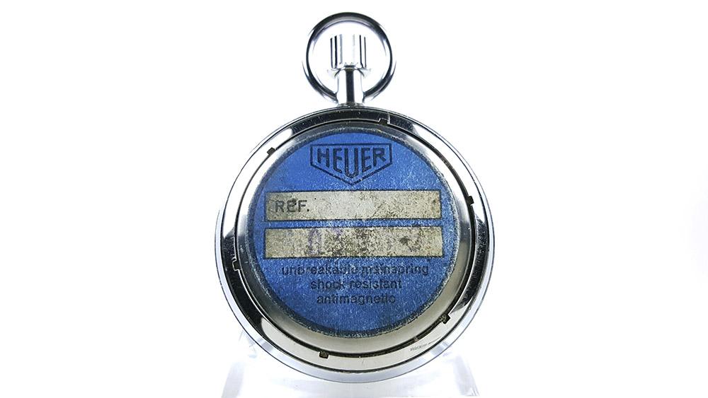 Stopwatch HEUER yacht timer (black dial) ref. 603.615 --- case back --- ikonicstopwatch.com