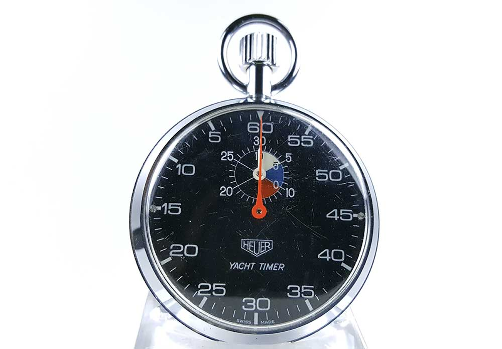 Stopwatch HEUER yacht timer (black dial) ref. 603.615 --- close-up shot (cover)--- ikonicstopwatch.com