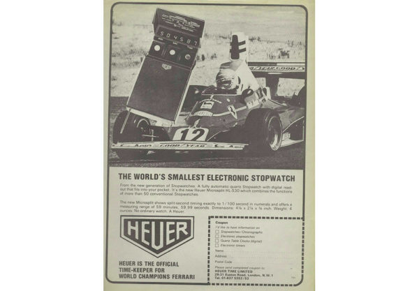 vintage heuer advertisement for the HL-530 stopwatch