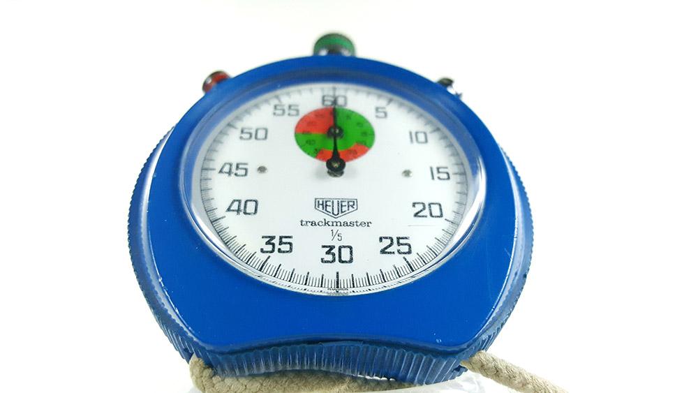 Stopwatch HEUER-Leonidas 8047 (trackmaster) --- close shot --- ikonicstopwatch.com
