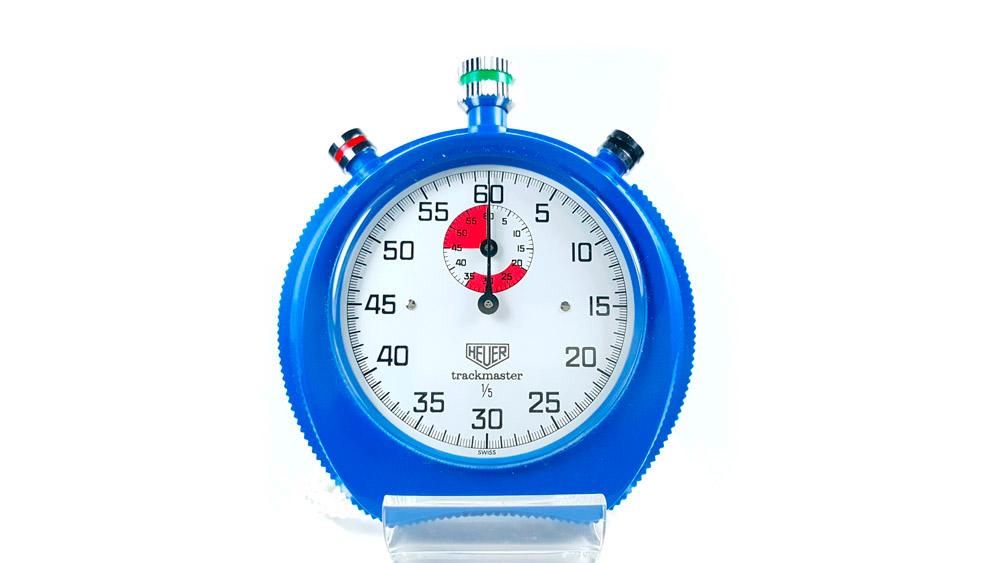 Stopwatch HEUER-Leonidas 8047 (trackmaster) --- close-up shot --- ikonicstopwatch.com
