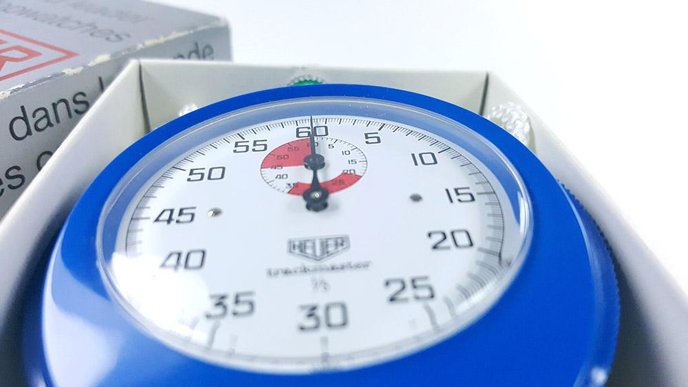 Stopwatch HEUER-Leonidas 8047 (trackmaster) --- box opened (close view) --- ikonicstopwatch.com