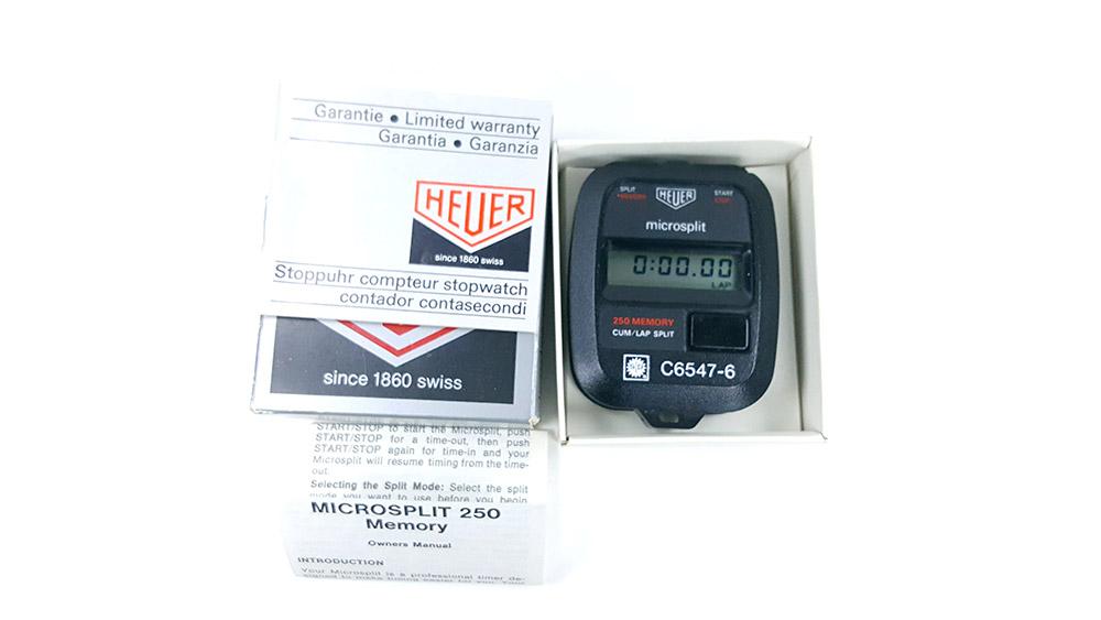Stopwatch HEUER microsplit 250 SP --- box from top --- ikonicstopwatch.com