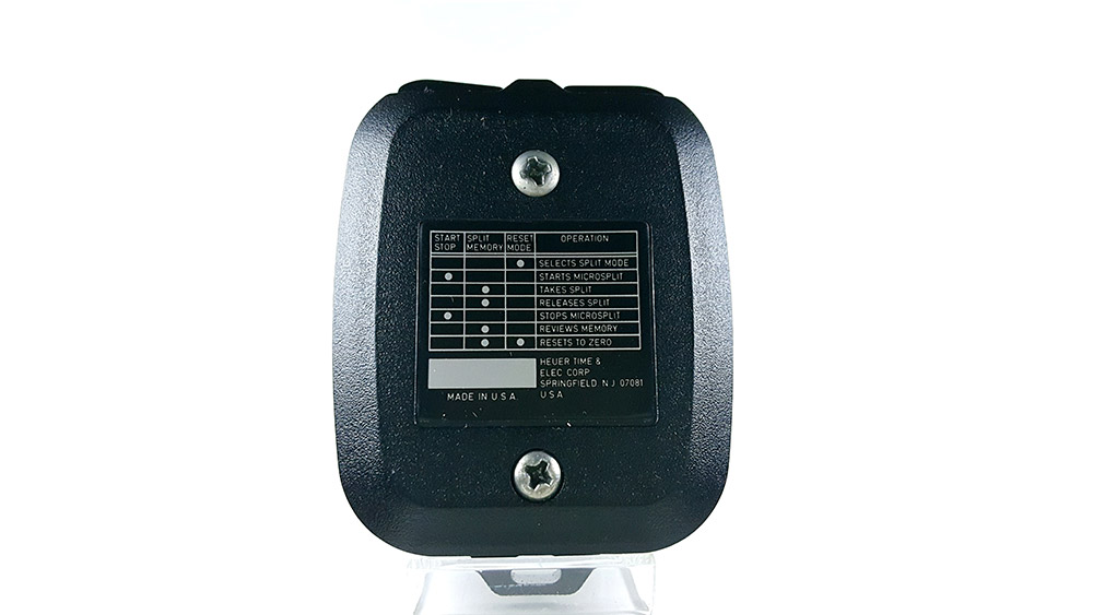Stopwatch HEUER microsplit 250 SP --- case back --- ikonicstopwatch.com