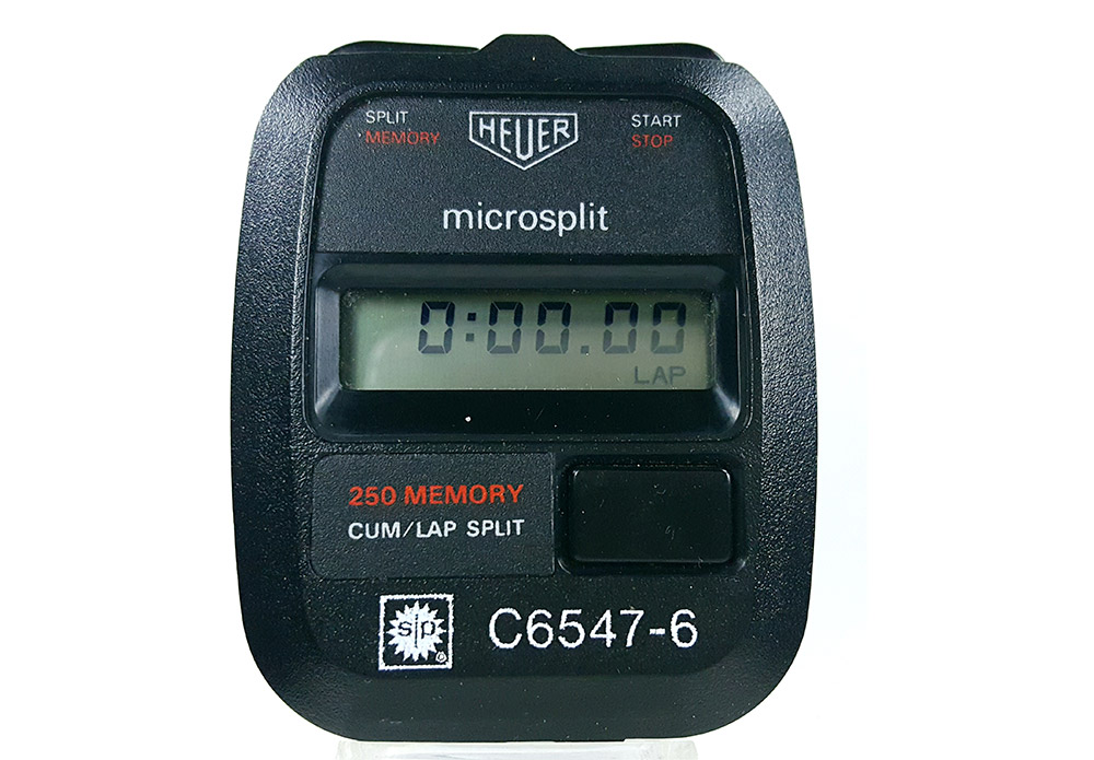 Stopwatch HEUER microsplit 250 SP --- close-up shot (cover) --- ikonicstopwatch.com