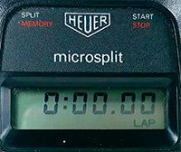 Stopwatch HEUER-Leonidas microsplit 250 vintage --- lcd screen detail --- ikonicstopwatch.com