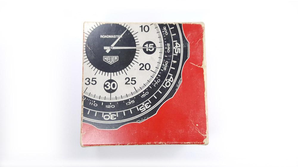 Stopwatch HEUER ref. 804.901 roadmaster vintage --- box from top --- ikonicstopwatch.com