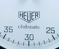 Stopwatch HEUER-Leonidas clubmaster small --- zoom on the dial --- ikonicstopwatch.com