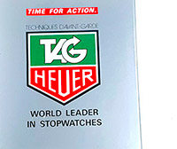 tag HEUER green and red logo on a box --- ikonicstopwatch.com