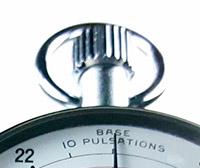 Vintage stopwatch HEUER-Leonidas ref. 403.229 (medical) --- zoom on the crown --- ikonicstopwatch.com