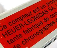 vintage HEUER-Leonidas stopwatch --- box detail --- ikonicstopwatch.com
