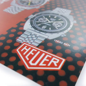 Vintage commercial HEUER leaflet (specific purpose watches) --- logo close-up (cover) --- ikonicstopwatch.com