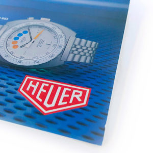 Vintage commercial HEUER leaflet (regatta) --- close-up --- ikonicstopwatch.com