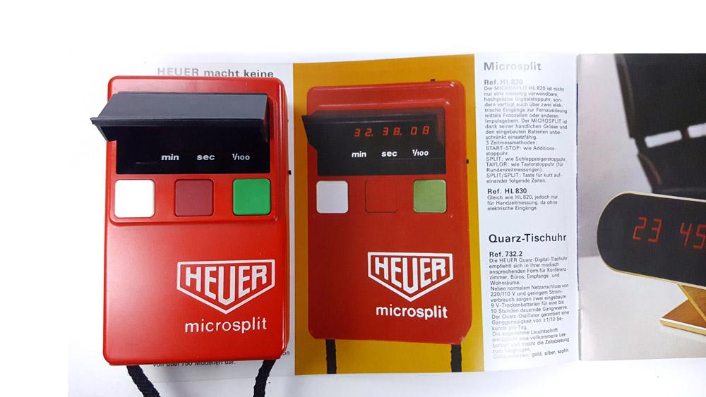 Vintage HEUER-Leonidas stopwatch microsplit HL 820 ---top view with catalog --- ikonicstopwatch.com