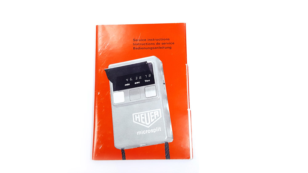 Vintage HEUER-Leonidas stopwatch microsplit HL 820 --- user guide --- ikonicstopwatch.com