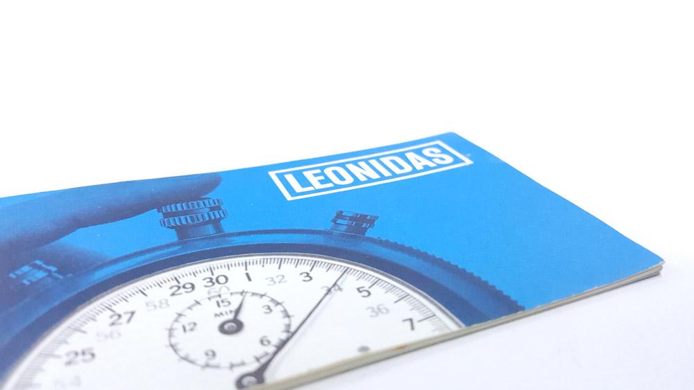 Chronomètre Leonidas trackmaster 8041 --- couverture du livret --- ikonicstopwatch.com