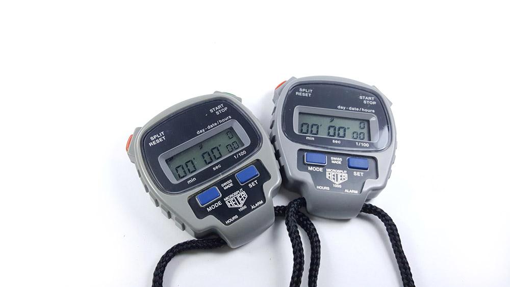 Vintage HEUER-Leonidas stopwatch microsplit ref. 1000 --- two stopwatches --- ikonicstopwatch.com
