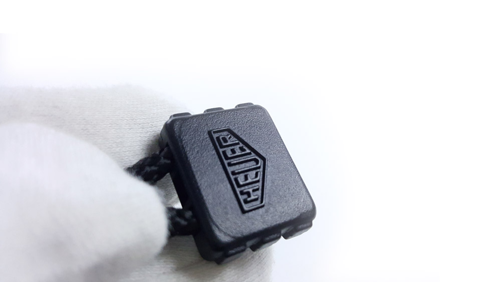Vintage HEUER-Leonidas stopwatch microsplit ref. 1000 --- HEUER lanyard detail --- ikonicstopwatch.com