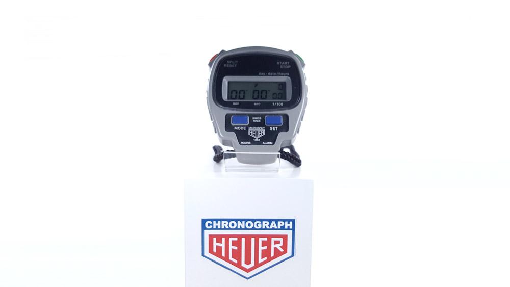 Vintage HEUER-Leonidas stopwatch microsplit ref. 1000 --- wide shot --- ikonicstopwatch.com