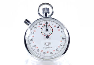 Vintage HEUER-Leonidas stopwatch ref. 593 trackmate --- close-up shot (cover) --- ikonicstopwatch.com