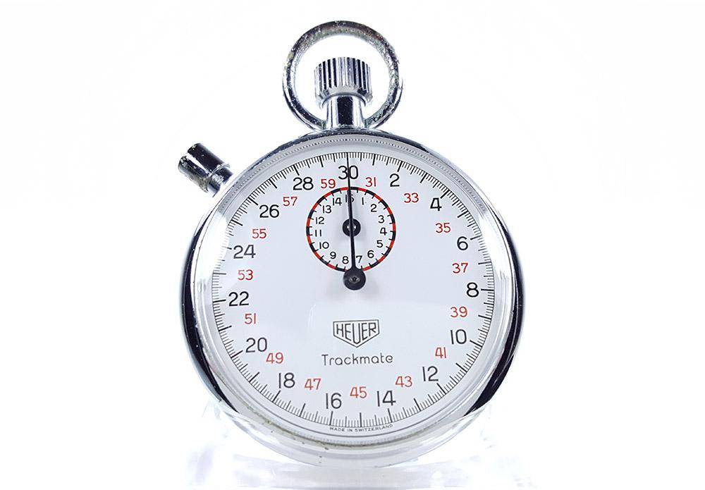 Vintage HEUER-Leonidas stopwatch ref. 593 trackmate --- close-up shot (cover) --- ikonicstopwatch.com