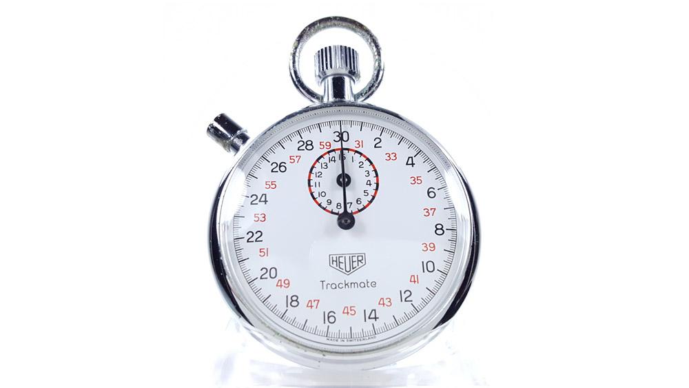 Vintage HEUER-Leonidas stopwatch ref. 593 trackmate --- close-up shot --- ikonicstopwatch.com