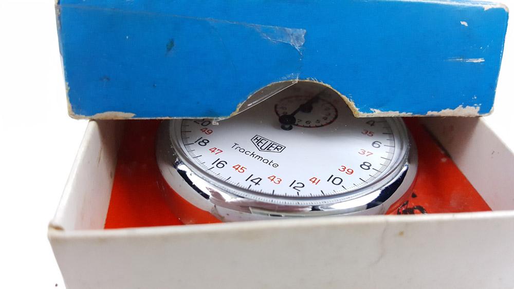 Vintage HEUER-Leonidas stopwatch ref. 593 trackmate --- box opened --- ikonicstopwatch.com