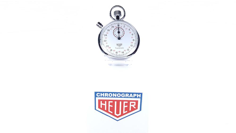 Vintage HEUER-Leonidas stopwatch ref. 593 trackmate --- wide shot --- ikonicstopwatch.com