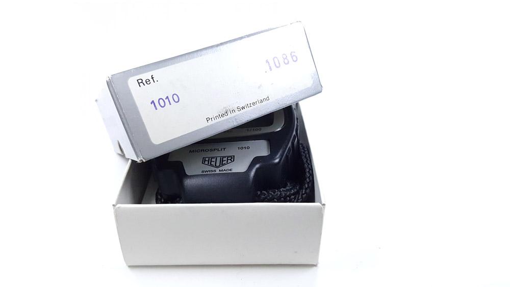 Chronomètre vintage HEUER ref. 1010 microsplit --- boite ouverte --- ikonicstopwatch.com